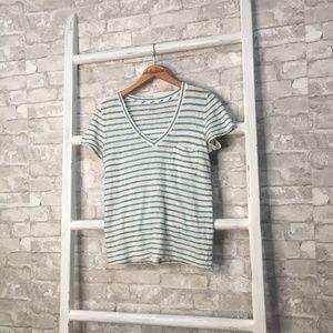 J Crew Linen V-Neck Pocket T-Shirt Stripe Size XS